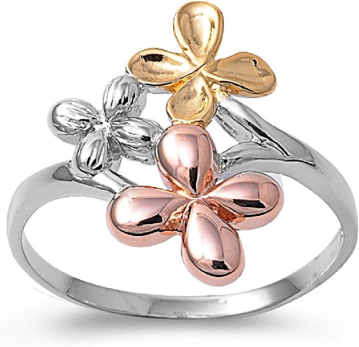 Princess Kylie 925 Sterling Silver Plumeria Ring