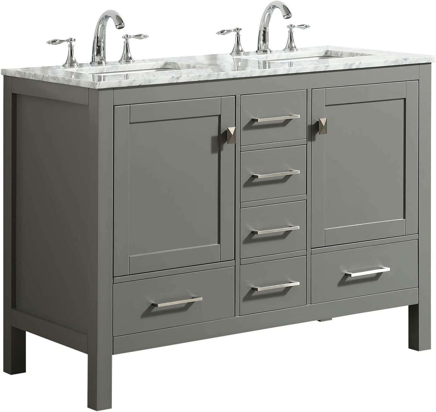 Eviva EVVN412-48GR-DS Aberdeen 48 Transitional Gray White Carrara Countertop and Double Sinks bathroom-vanities,