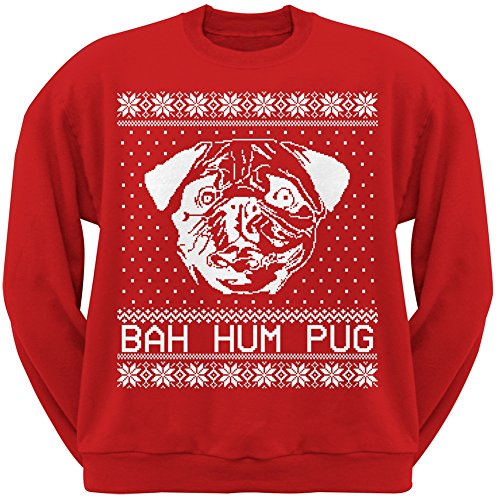 Bah Hum Pug Ugly Christmas Sweater Red Crew