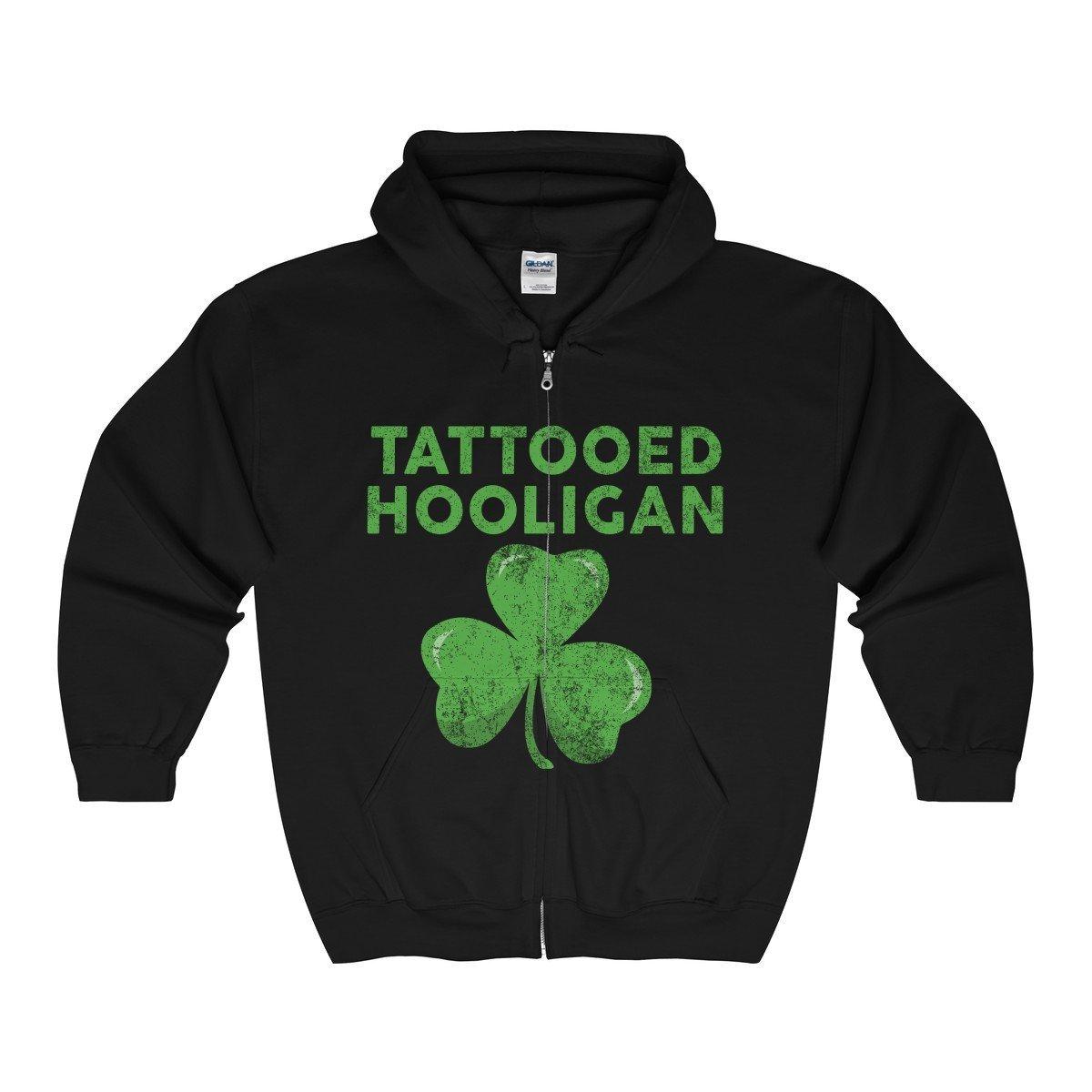 Vinteena ST Patricks Day Shirt Shamrock Clover Paddy Irish Unisex Men Unisex Zip Hooded Sweatshirt-Tee