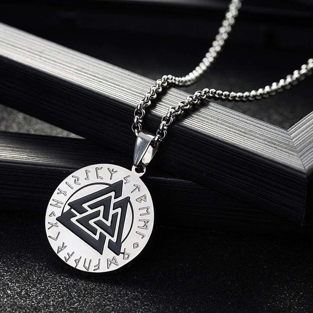 JEWLUXURY Jewelry Stainless Steel Viking Necklace Valknut Scandinavn Odin Vintage Pendant Necklace