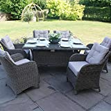 Maze Rattan Winchester 6-Seat Rectangle Dining Set with Square Chairs
