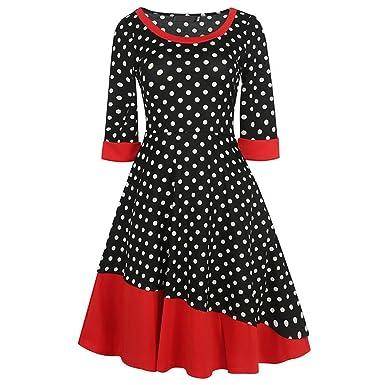 Xaviera 1950 s Vintage Vestido de LAS Mujeres Del Otoño Polka Dot Patchwork Color Black S