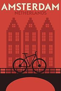 Amsterdam Netherlands Bicycle Retro Vintage Illustration Art Deco Vintage French Wall Art Nouveau French Advertising Vintage Poster Prints Art Nouveau Decor Cool Wall Decor Art Print Poster 12x18