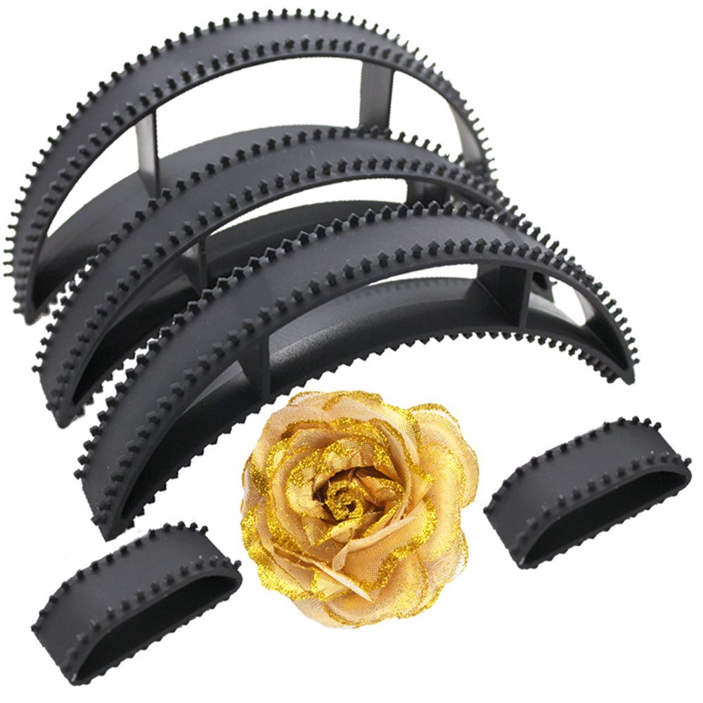 Kabello Combo Of Hair Bumpits And Hair Accessories Rose Clip For Hair Puff High Hair Volumizer Black And Golden, Pack Of 1 product image