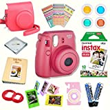 Fujifilm Instax Mini 8 (Raspberry) Deluxe kit bundle Includes -Instant camera with Instax mini 8 instant films (10 pack) - Custom Camera Case - instax Album - Frames - Stickers - Close up lens + MORE