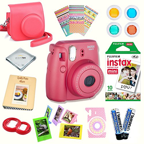 Fujifilm Instax Mini 8 Camera + Fuji INSTAX Instant Film (10 SHEETS) + 14 PC Instax Accessories kit Bundle, Includes; Instax Case + Album + Frames & Stickers + Lens Filters + MORE (Raspberry)