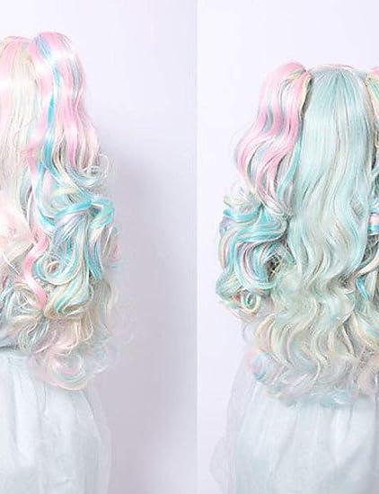 Sabio anime cosplay peluca multicolor pelucas de PU: Amazon ...