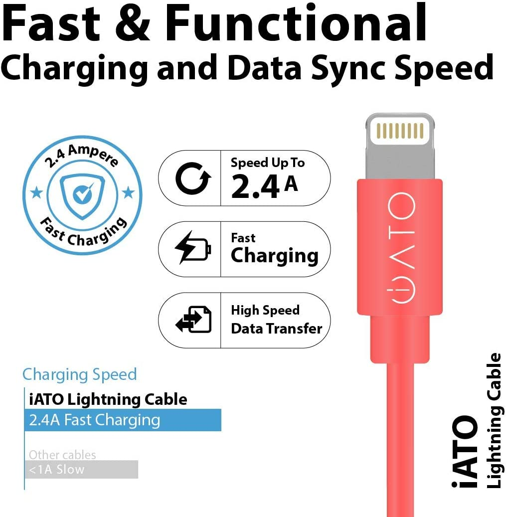 Black iPad 16 Cables of 1 Meter // 3.3 Feet each iPod iATO Lightning to USB Cable 24-Months Warranty Apple MFi Certified Fast Strong Reliable Charging Lead Charger Cord for iPhone 16 PACK