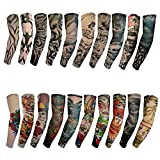 Temporary Tattoo Arm Sleeves - 20pcs Sunscreen Arm Sleeves Arts Designs Dragon | Tiger | Crown Heart | Skull and Etc Unisex Stretchable Cosplay Accessories 01