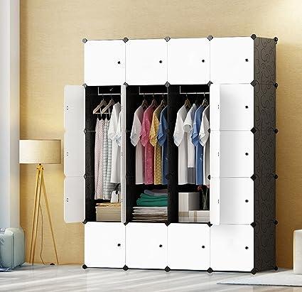 JOISCOPE Guardaroba Bianco Scatola di immagazzinaggio Armadio Portatile per Camera da Letto Armadio componibile in plastica con pensili 10 cubi