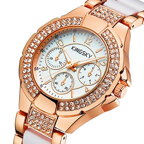 Women Gold Watches KINGSKY Brand Rhinestone Band Japan Quartz Movement Fashion Ladies Wrist Watch 011011 (Rose Gold White)