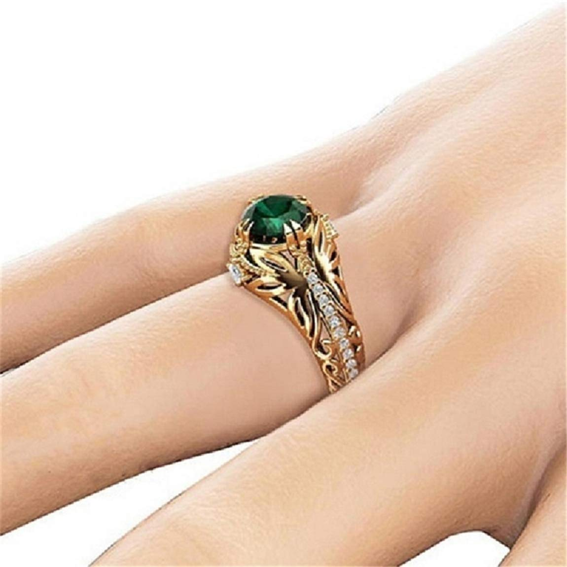 Weiy Fashionable Graceful Emerald Crystal Ring Gorgeous Charming Elegant Trendy Wedding Anniversary Engagement Ring Jewelry Accessories Gift for Women Girls