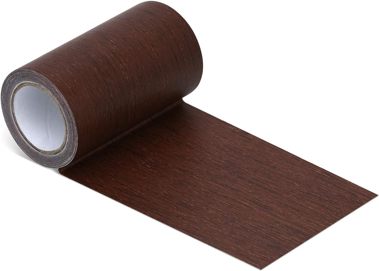"Repair Tape Patch 2.4"" X15' Wood Textured Adhesive for Door Floor Table and Chair(Mahogany)"