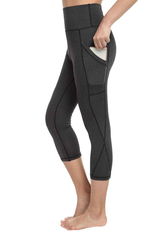 FITTOO Legging de Sport Pantacourt Femme avec Poches Taille Haute Pantalon  Yoga Collant Capri Danse Fitness ... b327037bc43