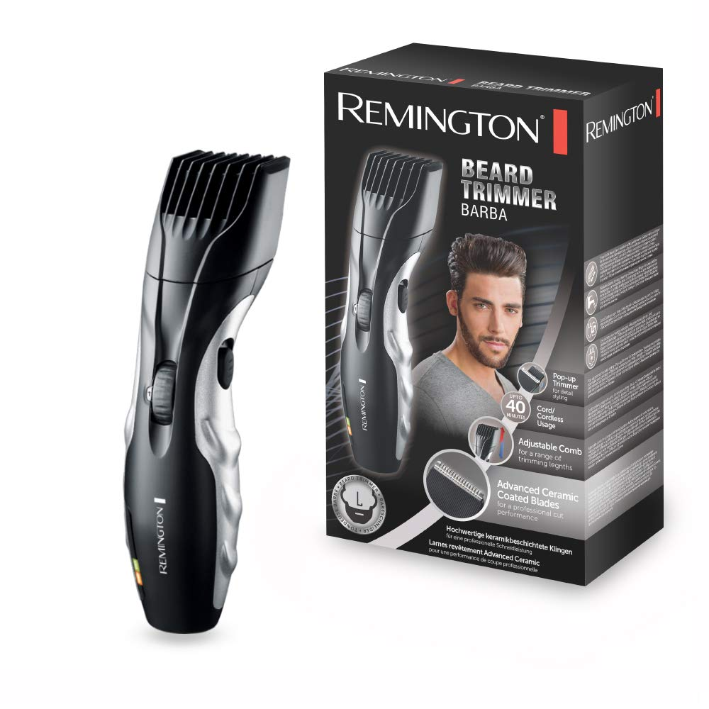 The Remington Barba beard trimmer in front of its box. Both the beard trimmer and the box are black