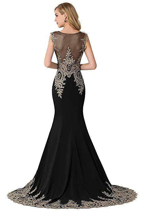 MisShow Women\'s Embroidery Lace Long Mermaid Formal Evening Prom ...