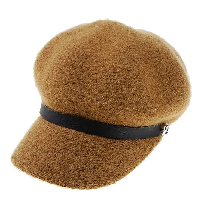 Baoblaze Sombrero de Visera Mezcla de Lana Gorro Boina de Vendedor de Periódicos  para Mujer - café a36446b2040