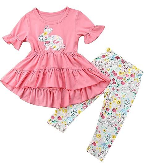 a92d7883b71b Amazon.com  Infant Girls Bunny Print Ruffle Mini Dress T Shirt Tops+ ...