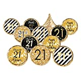 21st Birthday Party Favor Stickers - Gold and Black (324 Count)