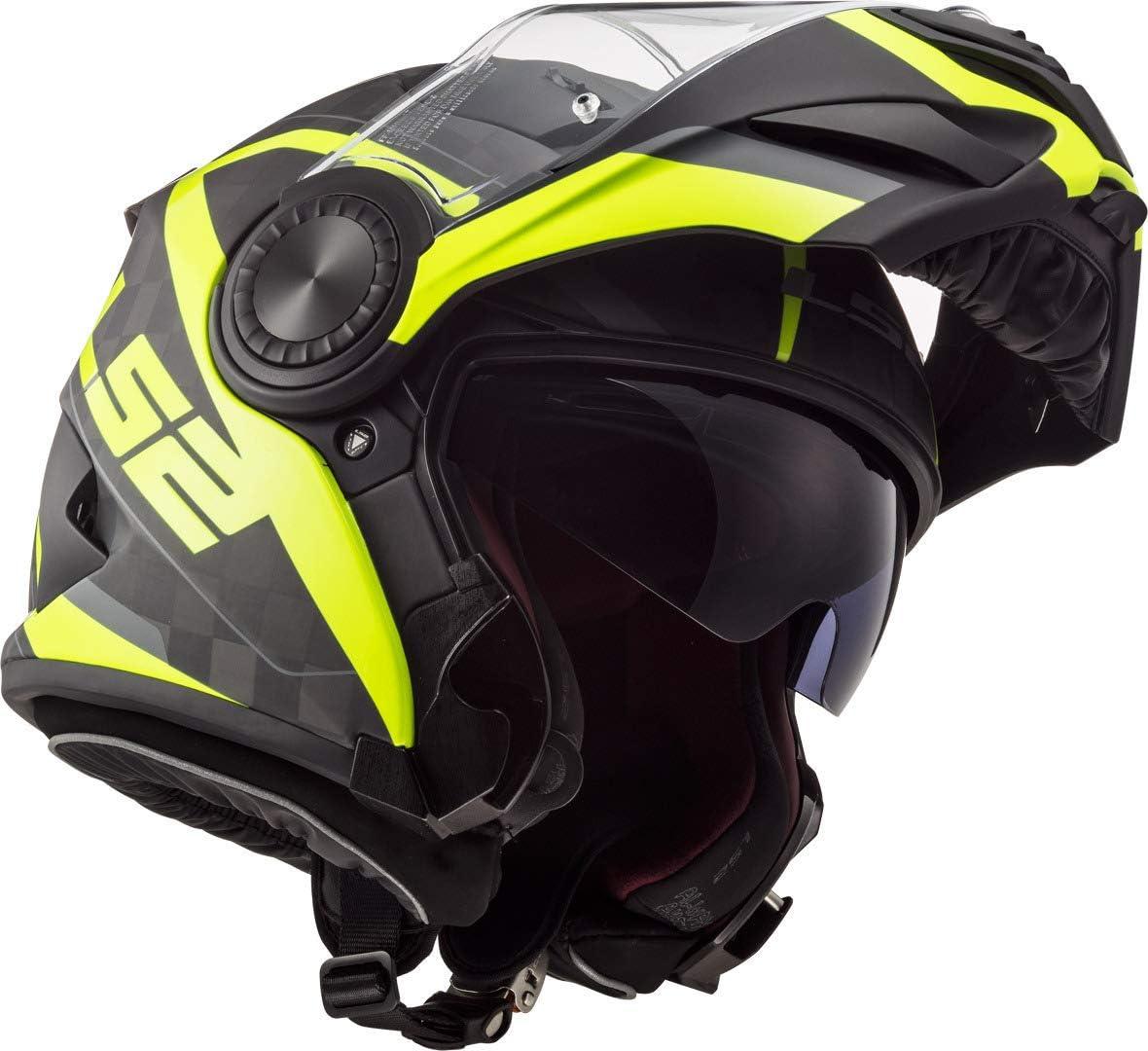 LS2 Casque moto FF313 VORTEX FRAME CARBON HI VIS Jaune XS Noir//Jaune