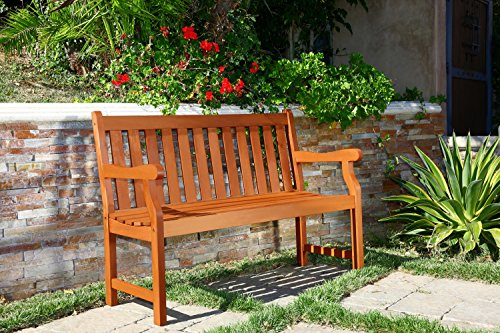 Vifah V206E Henly Outdoor Two Person Bench, 48 L x 22 W x 35 H, Reddish brown