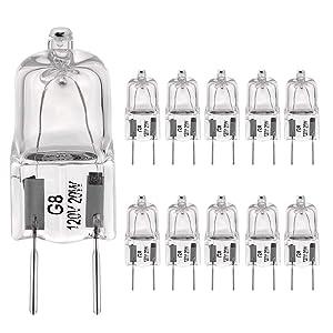 """G8 Light Bulbs 20Watt 120Volt Halogen Light Bulb G8 Base Bi-Pin Shorter 1-1/4"""" (1.55"""") Length 20W T4 JCD Warm White Under Cabinet Puck Lighting Replacements,10Pack"""