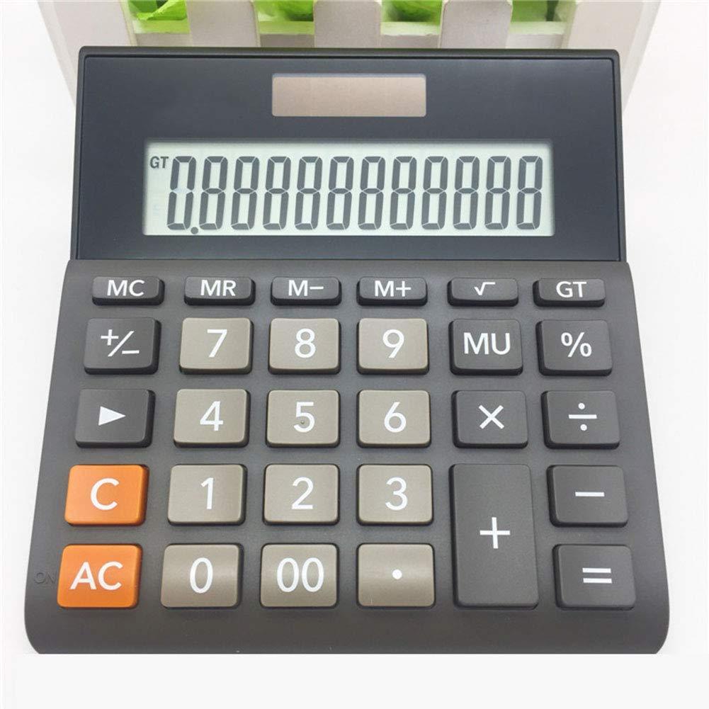 CalculatorSolar Business Calculator Dual Power Supply 12-Digit Display LED Large Screen Plastic Button Automatic Shut-Down (Black)