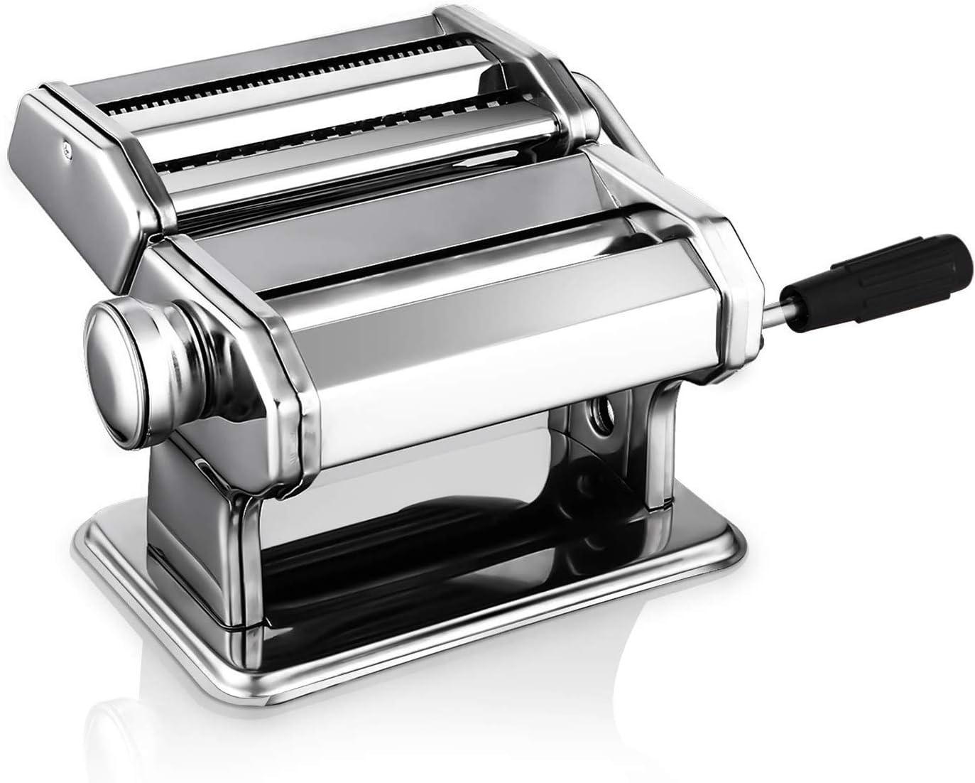 Sailnovo Máquina para Hacer Pasta Fresca Máquina de Cortar Pasta Acero Inoxidable Máquina de Cocina en Casa Máquina para Hacer Fideos Frescos Tallarines Lasañas Espa