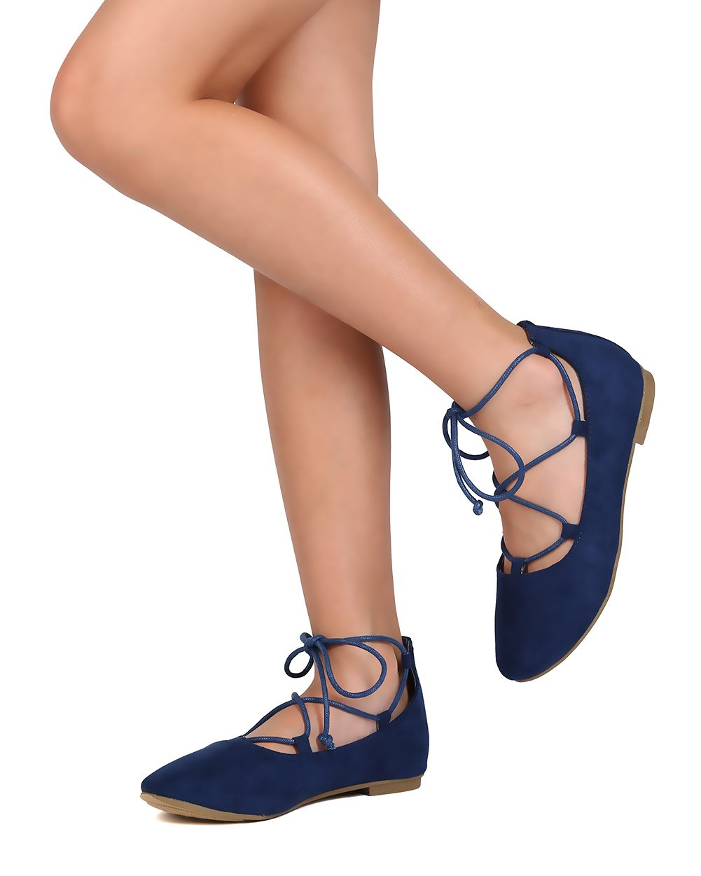 BETANI Faux Suede Gilly Tie Ballerina Flat (Little Girl/Big Girl) FB80 - Royal Blue (Size: Little Kid 11)
