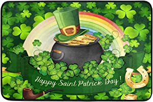 Clovers Gold Coin Pot Door Mats Horseshoe Green Shamrock Rainbow Floor Mat Indoor Outdoor Entrance Bathroom Doormat Non Slip Washable Spring Welcome Mats St Patrick's Day Home Decor 23.6 x 15.7 inch