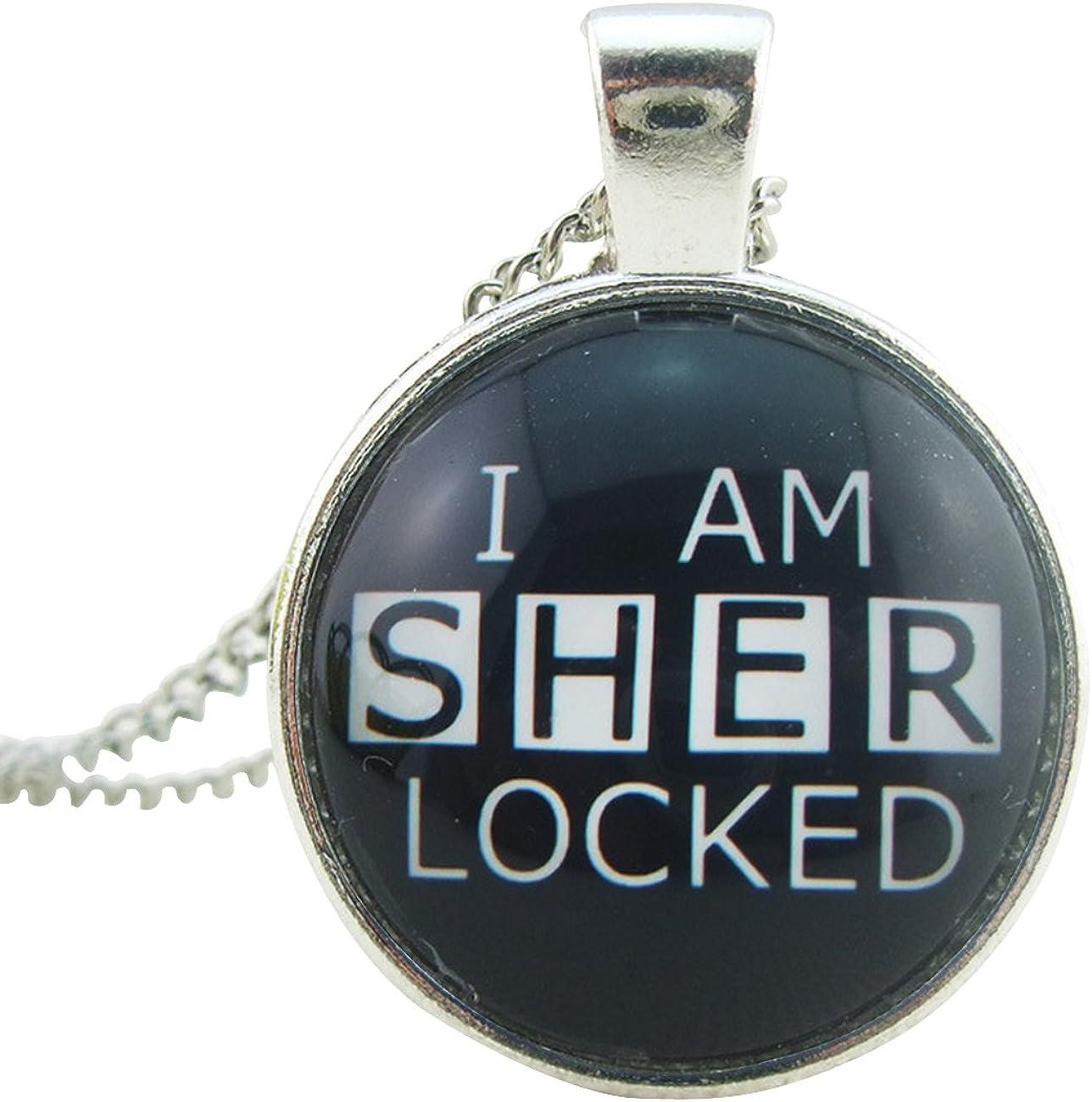 Joyplancraft Sherlock Inspired Necklace I Am Sherlocked Glass Pendant with Silvery Chain Necklace