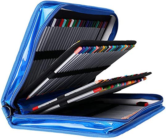 HUATAN Manualidades Adultos maletin de Pinturas, Material para Dibujo Profesional Kit Manualidades para niños para Dibujar y Pintar,Azul: Amazon.es: Hogar