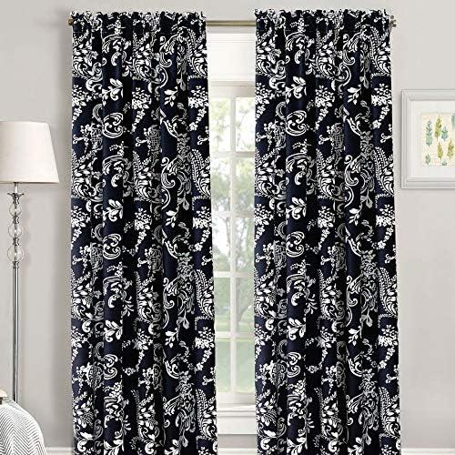 Home Soft Things Serenta La Boheme Printed Curtain, Black, 60 x 84