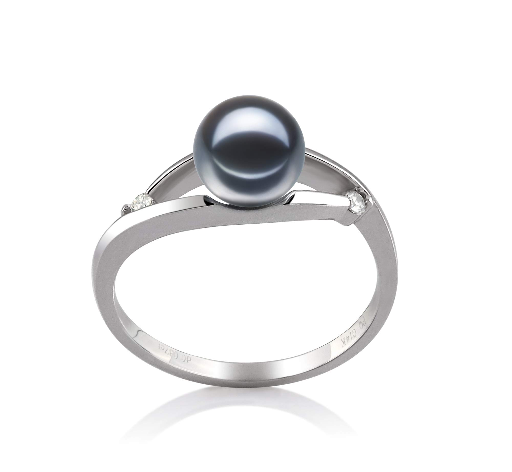 Tanya Black 6-7mm AAAA Quality Freshwater 14K White Gold Cultured Pearl Ring For Women - Size-7