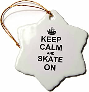 3dRose orn_157771_1 Keep Calm and Skate On-Carry on Skating-Funny Skateboarding Skater Roller Skating-Snowflake Ornament, Porcelain, 3-Inch