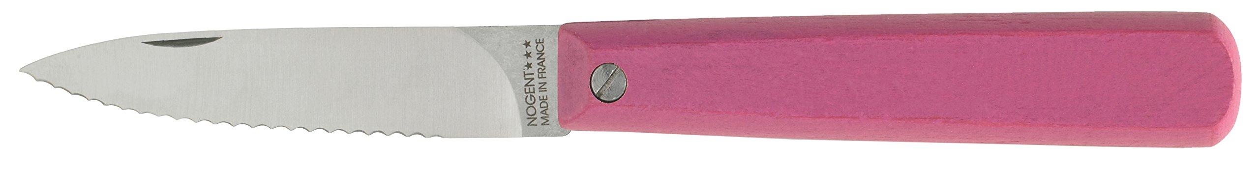 Nogent Le Pocket Folding Paring Kitchen Knife, Made in France, Serrated Edge, Hardwood Handle, Rose Pink, 3.15-Inch Carbon Steel Blade