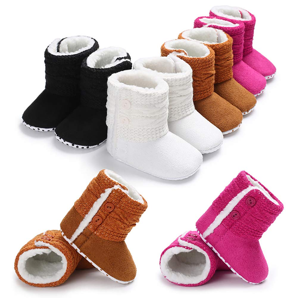 White 11cm Alamana Buttons Decor Infant Baby Soft Sole Warm Prewalker Toddler Shoes Snow Boots