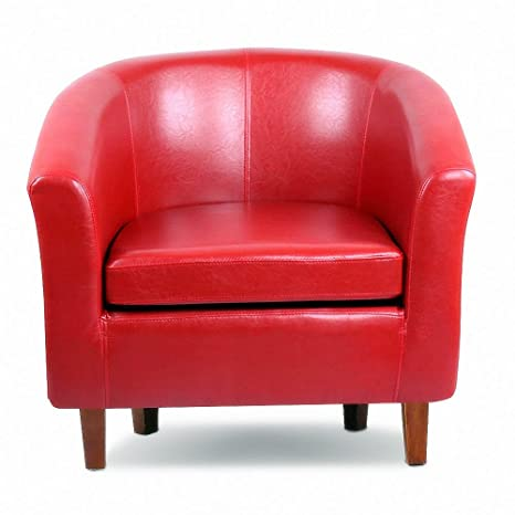 Sensational Popamazing Vintage Wood Frame Faux Leather Tub Sofa Chair Club Armchair Waiting Room Seating Red Dailytribune Chair Design For Home Dailytribuneorg