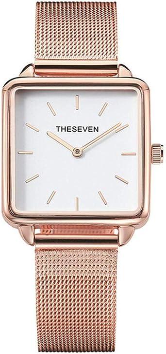 Moda Mujer Relojes Cuarzo Rosa Oro Reloj Cuadrado Mujeres Banda De ...