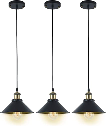 Deep Dream Industrial Pendant Light Shade Vintage Light Fixtures Pendant E26 E27 Base 3 Pack Without Bulbs