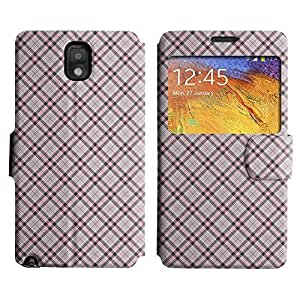 Be-Star Colorful Printed Design Slim PU Leather View Window Stand Flip Cover Case For Samsung Galaxy Note 3 III / N9000 / N9005 ( Checkered Pattern ) Kimberly Kurzendoerfer