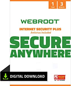 Webroot Internet Security Plus with Antivirus Protection Software| 3 Device | 1 Year Subscription | PC Download