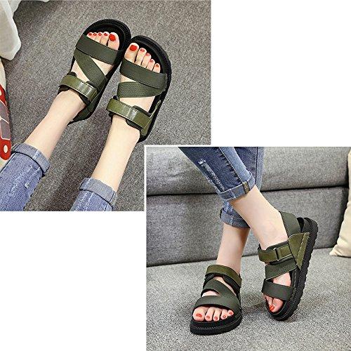 Y&Mai Lightweight Platform Sports Sandals Trekking Water Shoes Velcro Summer Women Green hIPA9Jagiw