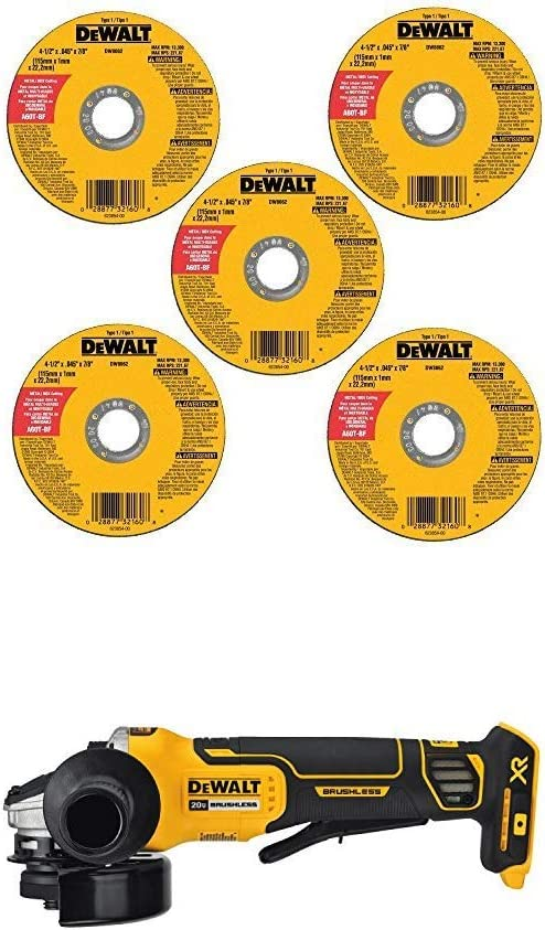 DEWALT DW8062B5 4-1/2-Inch by 0.045-Inch Metal and Stainless Cutting Wheel, 7/8-Inch Arbor, 5-Pack and DEWALT DCG413B 20V MAX Brushless Cut Off Tool/Grinder (Tool Only)