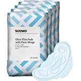 Amazon Brand - Solimo Ultra Thin Pads with Flexi-Wings, Extra Long Length, Super Absorbency, Unscented, Size 3, 112 Count