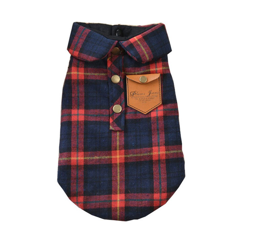 BBEART Pet Clothes, England Plaid Double Layer Flannel T-Shirt Autumn Winter Warm Dog Clothes for Small or Medium Pet Dogs Clothing Chihuahua Yorkshire Poodle Apparel Costumes (M, Red)