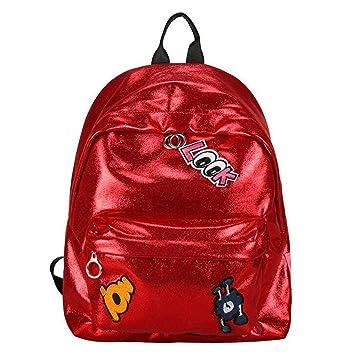 Eeayyygch Mochila con láser Chica Mochila Escolar Mujeres Rosa Negro Sencillo Bolsa Metálica Láser Mochilas holográficas láser WM507Z Rojo (Color : Rojo): ...