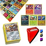 100 Pokemon Cards with 5 Holo Rare Cards and TopDeck Deck Box