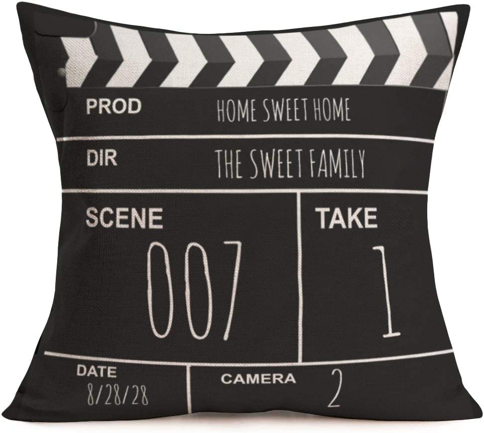 Amazon Com Asminifor Movie Theater Theme Throw Pillow Covers Cotton Linen Retro Cinema Movie Clapboard Decorative Pillow Covers Cushion Csse Square Pillowcase 18 X 18 Cinema Clapboard Home Kitchen